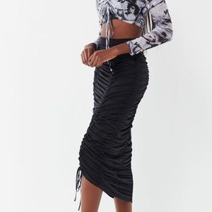 NWT Urban Outfitters Black Cinched Midi Skirt
